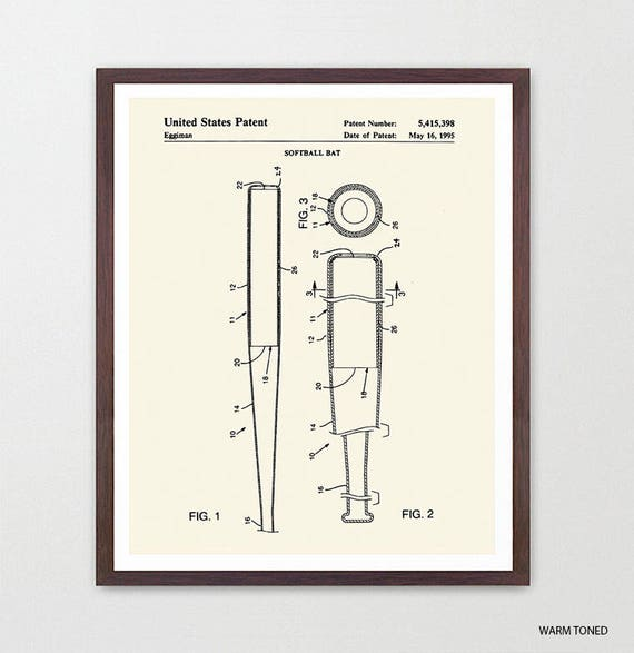 Softball Bat - Softball Patent - Softball Patent Art - Softball Poster - Softball Decor - Softball Wall Art - Girls Room Decor - Sports Art