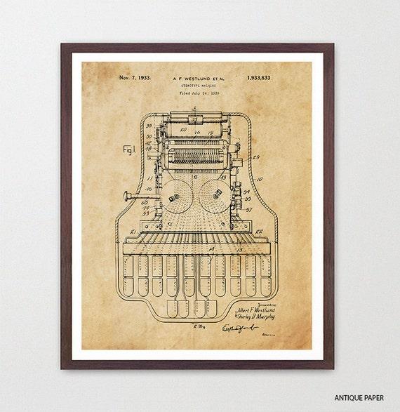 Stenographer Patent Art Print - Law Poster - Law Office Wall Art - Lawyer Poster - Lawyer Gift - Law Art  Office - Law Student - Law School