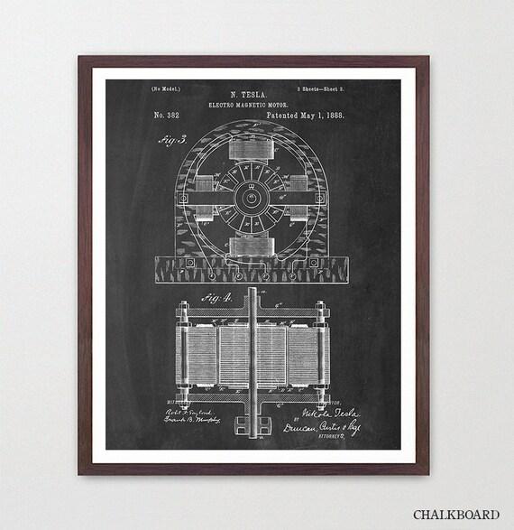 Tesla Electric Engine - Tesla Poster - Tesla Electric Cars - Electric Car Poster - Automobile Art- Patent Print - Patent Poster