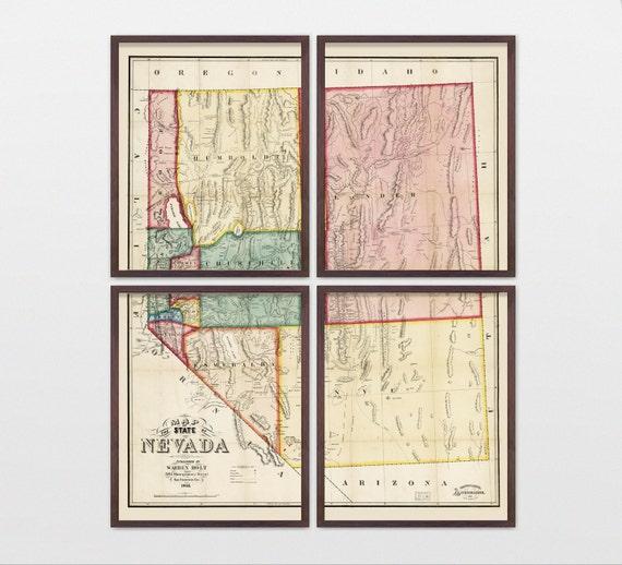 Nevada Map - Antique Map - Archival Reproduction - Nevada Art - Nevada Poster - Nevada Wall Art - State Map - Vegas Art - Las Vegas - Reno