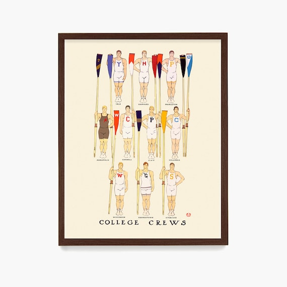 Crew Poster, College Crew Print, Rowing Poster, Rowing Wall Art, Ivy League Gift, Crew Gift, Crew Wal Art, Rowing Team Gift