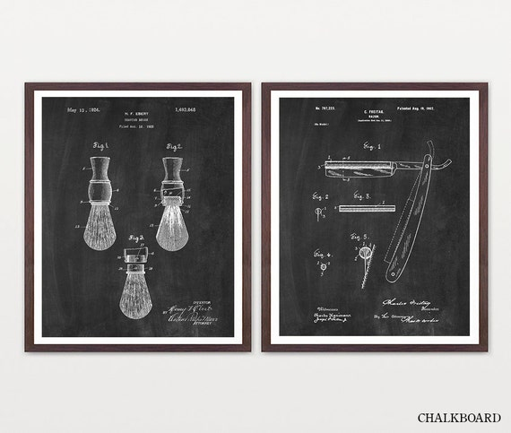 Shaving Inventions - Shaving Patent - Men's Bathroom Art - Men's Bathroom Wall Art - Razor Patent - Shaving Brush Patent - Mens Art -Man Art