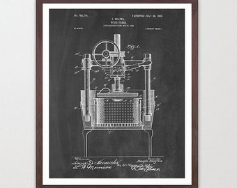 Wine Poster - Wine Art - Wine Press Patent Print - Wine Decor - Wine Wall Art - White Wine - Wine Lover - Wine Cellar - Vino - Red Wine
