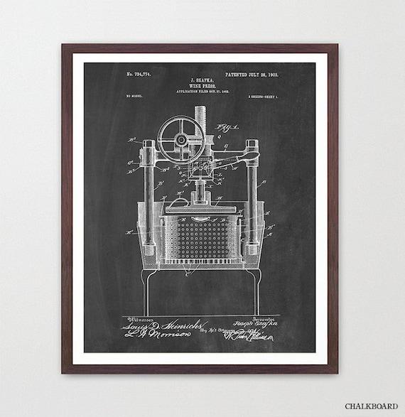 Wine Poster - Wine Art - Wine Press Patent Print - Wine Decor - Wine Wall Art - White Wine - Wine Lover - Wine Cellar - Vino - Red Wine
