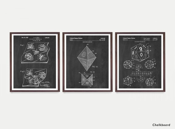Dungeons and Dragons Dice Patent Art  DnD Wall Art Dungeons and Dragons Poster  Dungeon Master  Dnd Art  Dnd Poster - Dice Patent  RPG  Game