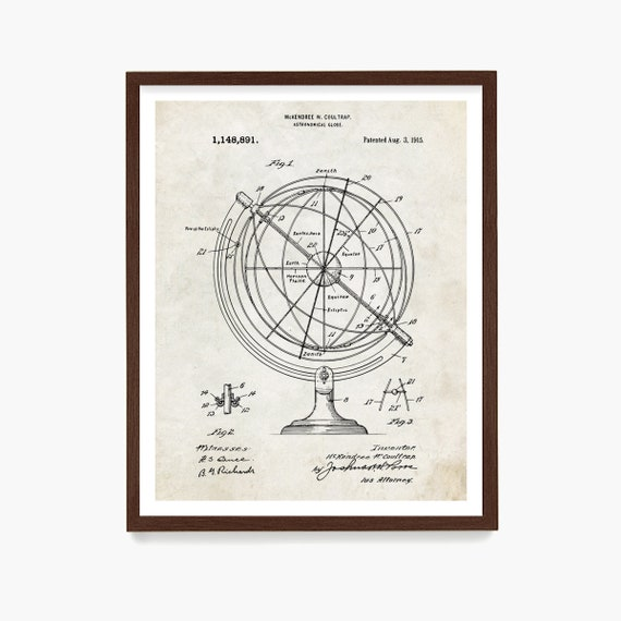 Astronomy Patent Poster, Astronomical Globe Patent Wall Art, Astronomy Patent, Star Chart, NASA Patent, Space Art, NASA Poster