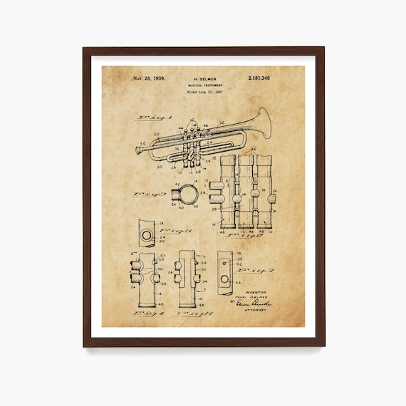 Trumpet Poster, Music Patent Poster, Band Poster, Trumpet Patent, Marching Band, Trumpet Gift, Musician Gift