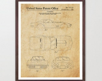 Corvette Patent Print - Corvette Poster - Corvette Patent Art - Corvette Art - Corvette Wall Art - Sports Car Art - Boys Room - Teen Room