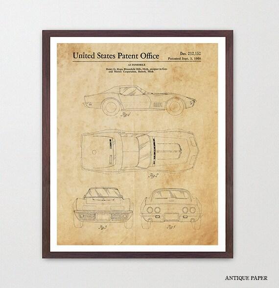 Corvette Patent Print - Corvette Poster - Corvette Patent Art - Corvette Art - Corvette Wall Art - Sports Car Art - Boys Room - Teen Room