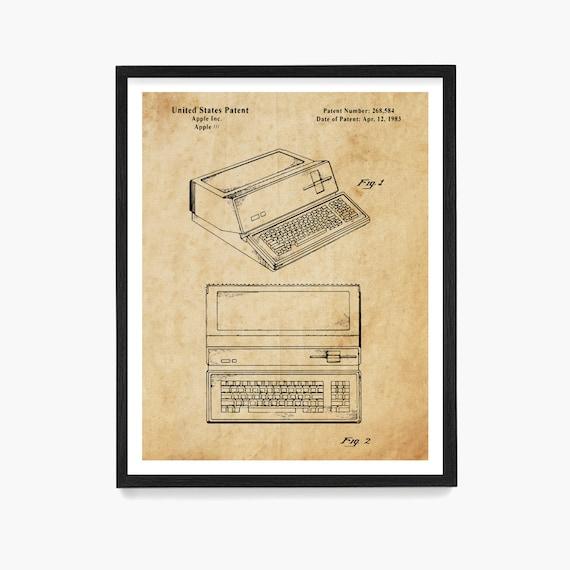 Apple Computer Patent Art, Vintage Computer Patent, Patent Poster, Computer Poster, Coding, Tech Gift, Tech Poster, Steve Jobs
