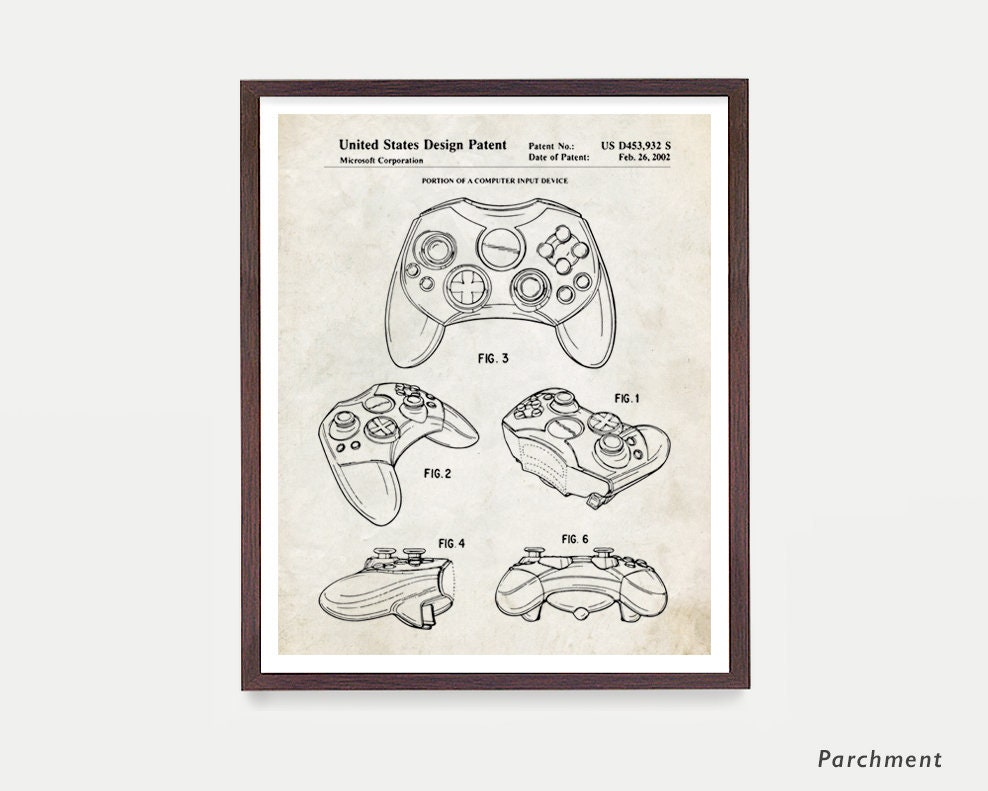 Xbox Controller Patent Video Game Art Video Game Poster Xbox