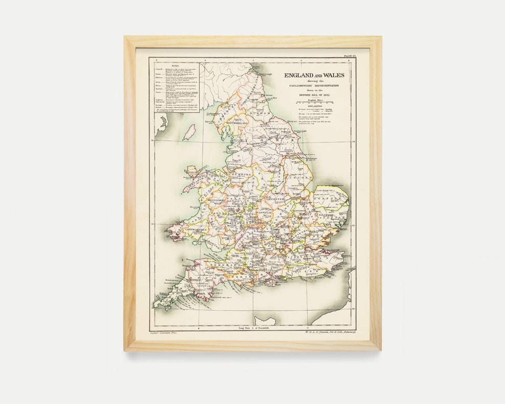 Map Of England Poster.England Map England And Wales Wales Map England Art England
