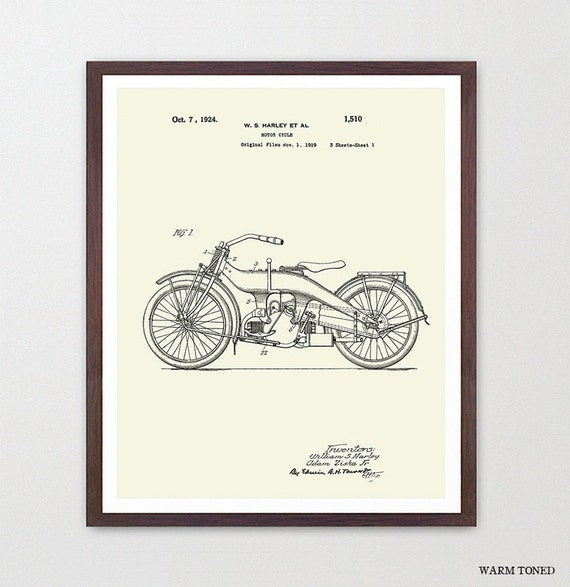 Harley Davidson Poster - Harley Motorcycle Art Print - Motorcycle Art - Biker Art - Patent Print - Patent Poster - Harley Patent - Harley