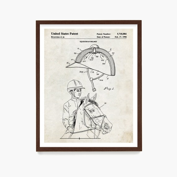 Equestrian Helmet Patent Poster, Horseback Riding Poster, Equestrian Poster, Horse Wall Art, Equestrian Patent, Horse Gift, Equestrian Gift