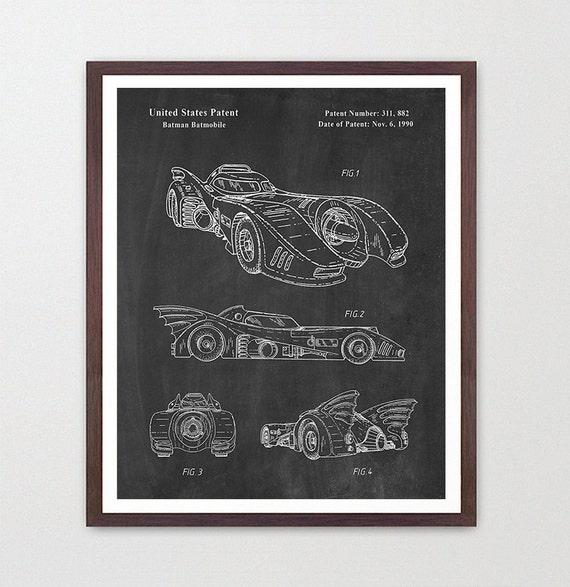 Batman Patent Print - Batmobile Wall Art Poster - Patent Art - Batman Patent Art - Batmobile Patent - Batmobile Poster - Superhero Poster