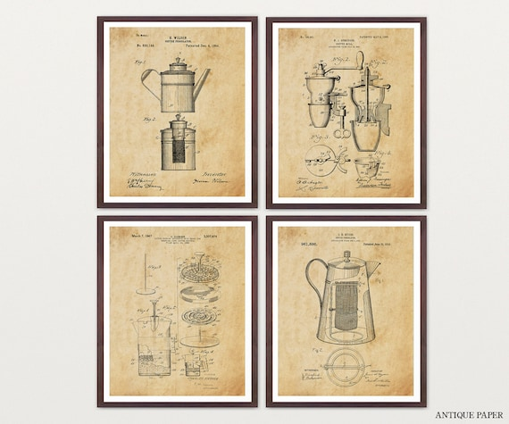 Coffee Patent Art - Coffee Art - Coffee Poster - French Press Patent - Kitchen Wall Art - Kitchen Decor - Kitchen Gift - Coffee Gift - Home