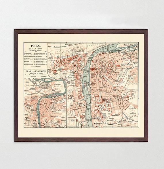 Prague Map - Czech Republic  -Prague Art - Map Decor - Czech Art - Map Art - Vintage Map Art - Prague Poster - Prague Wall Art - City Map