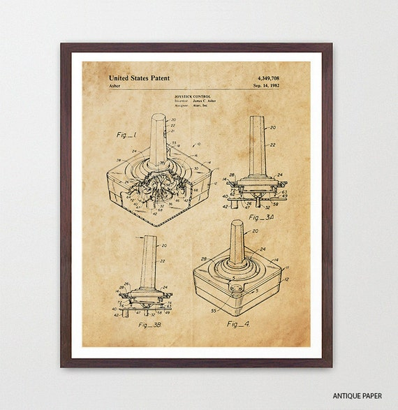 Atari Patent Poster, Video Game Art, Video Game Poster, Atari, Video Game Controller, Video Game Wall Art, Atari Game, Boys Room Art