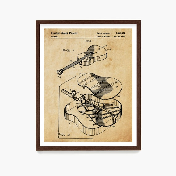 Acoustic Guitar Patent Print, Martin Acoustic Guitar Poster, Guitar Wall Art, Musician Gift, Music Art, Guitar Gift