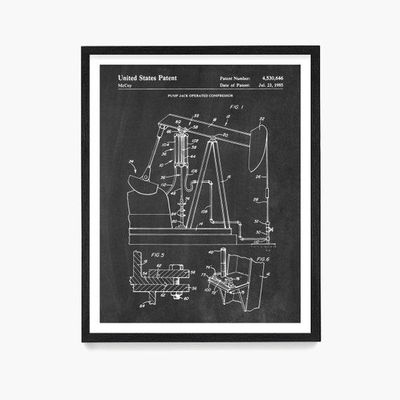 Oil Pump Jack Patent Print, Oil Patent Wall Art, Oil Poster, Oil Decor, Drilling Patent, Oil Field Art, Oil Gift