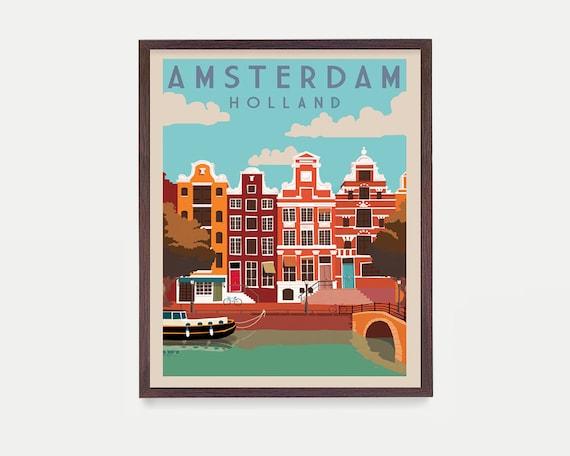 Amsterdam Poster, Holland Art, Amsterdam Wall Art, Amsterdam Art, Europe, Europe Poster, Travel Poster, Holland Poster, Vintage Amsterdam