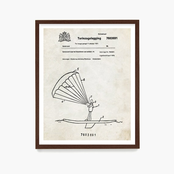 Kitesurfing Patent Art, Surfing Poster, Kite Surfing Patent, Kitesurfing Wall Art, Beach House Wall Art, Surfing Gift, Ocean Art
