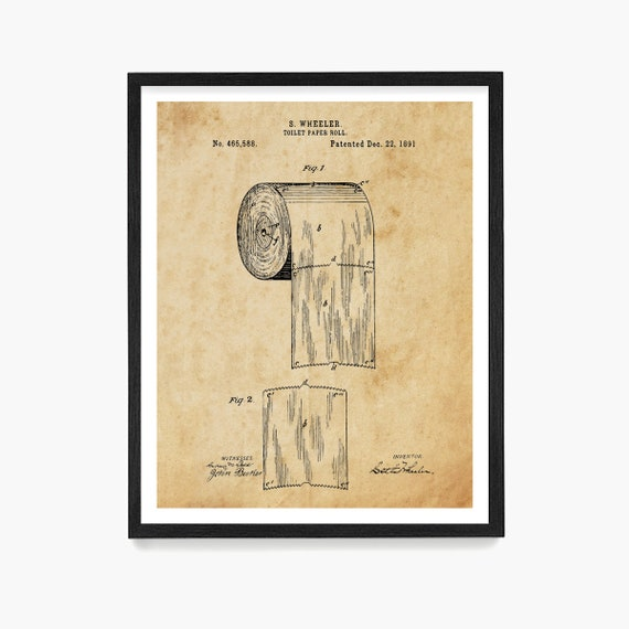 Toilet Paper Patent Print, Bathroom Wall Art, Bathroom Decor, Bathroom Remodel, Housewarming Gift, Bathroom Poster, Toilet Paper Poster