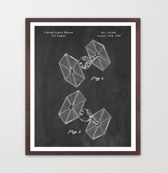 Star Wars - Tie Fighter - Star Wars Patent - Star Wars Poster - Tie Fighter Patent - Star Wars Art - Sci Fi - Spacecraft - Star Wars Gift