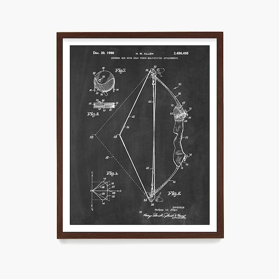 Archery Patent Poster, Bow and Arrow, Archery Art, Archery Poster, Archery Wall Art, Hunting Poster, Hunter Gift, Archery Gift