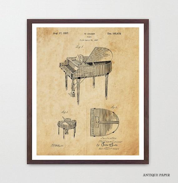 Piano Patent Poster - Piano Art - Piano Patent Print - Music Poster - Music Art Print - Music Poster - Baby Grand Piano - Music Gift