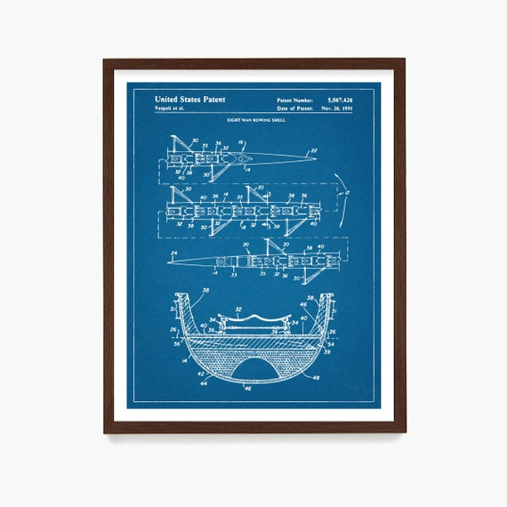 Rowing Patent Art, Crew Wall Art, 8 Man Row Boat, Sculling Patent, Crew Poster, Crew Team Gift, Rowing Patent Art, Rowing Gift