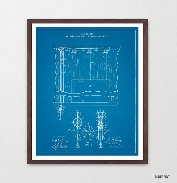 Theater Curtain Patent - Musical Theater Poster - Theater Art - Theater Decor - Broadway - Broadway Musical - Playbill - Actor - Actress
