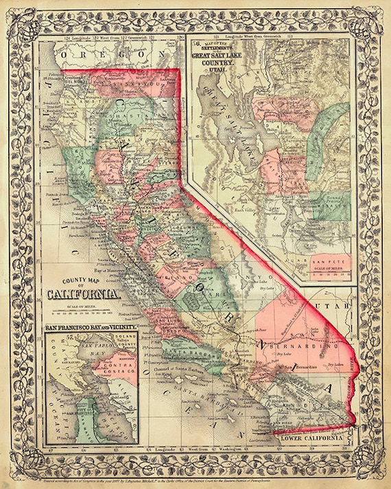 Wall mural poster old vintage antique maps California train furthermore Vintage Map Of State Of California  USA  1900 Stock Photo  Picture also Vintage Poster The poultry of the world  1868   OLD MAPS AND VINTAGE additionally California Map California Map Art Vintage California Map   Etsy furthermore California Antique North America Atlas Maps for sale   eBay besides Clason's Map of California   Geographicus Rare Antique Maps in addition CALIFORNIA MAP POSTCARDS Waltspaper further 1931 Antique CALIFORNIA Map Poster Print SIZE Vintage Map of together with 1914 Antique CALIFORNIA State Map Vintage Map of California Gallery likewise California map   Etsy likewise Amazon    National Atlas Map  California  1935   Historic Antique furthermore Vintage Map of Palo Alto California  1899  Throw Blanket by besides Vintage Map California Stock Photos   Vintage Map California Stock besides  likewise File 1860 Mitc's Map of California   Geographicus   CA m 1860 also California State Vintage Map Vintage Dictionary Print 8x10 inch Home. on vintage map of california