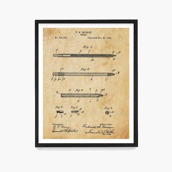 Pencil Patent Poster, Writer Gift, Writing Wall Art, Literary Poster, Study Wall Art, Office Wall Art, Office Decor