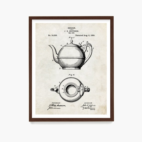 Tea Kettle Patent Print, Tea Patent Art, Tea Pot Poster, Tea Poster, Kitchen Wall Art, Tea Canvas, Kitchen Decor