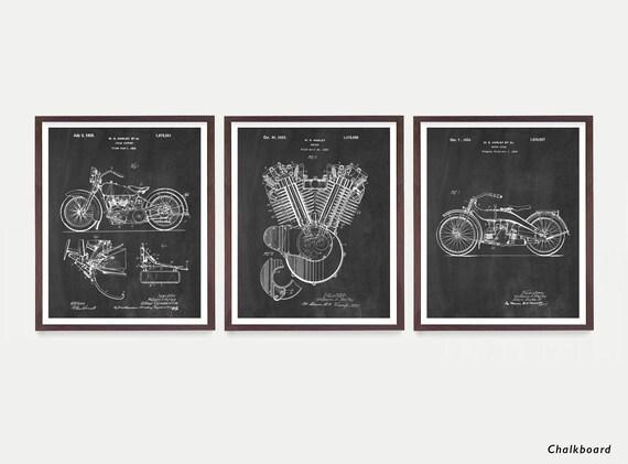 Harley Davidson Poster - Set of 3 Prints - Harley Poster - Harley Davidson Motorcycle - Harley Engine - Harley Side Car - Motorcycle Art