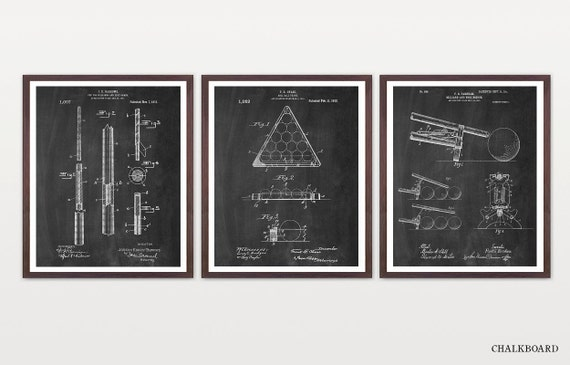 Billiards Poster Set - Inventions of Billiards - Billiards Art - Billiards Room - Pool Hall - Billiards Patent - Pool Patent - Pool Poster