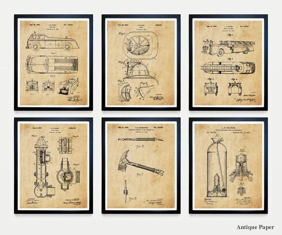 Firefighter Ultimate Patent Poster Set - Fireman Art - Fireman Poster - Fire Company - Fire House - Fire Truck Art - Fire Patent - Axe