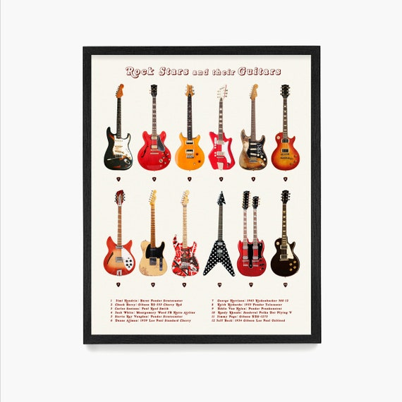 Guitar Poster, Rock Stars and Their Guitars, History of Rock n Roll, Rock n Roll Poster, Music Wall Art, Guitar Wall Art, Hendrix Guitar