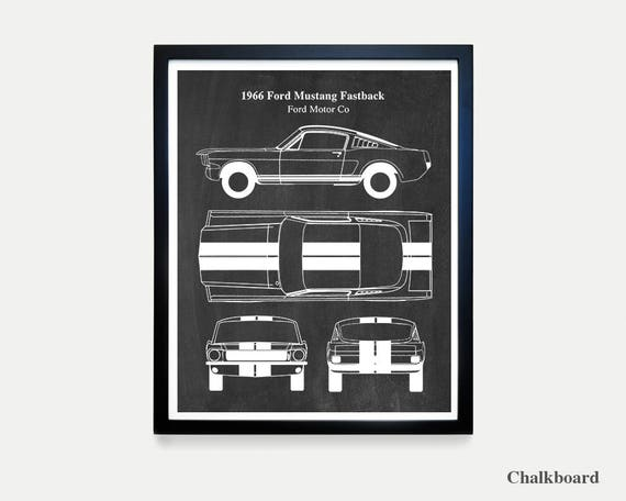 Ford Mustang Patent - 1966 Fastback - Muscle Car - Car Art - Ford Art - Mustang Poster - Ford Mustang Art - Car Art - Car Patent  Car Poster