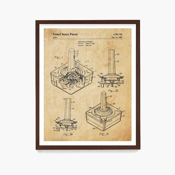 Video Game Patent Art, Atari Controller Patent, Video Game Controller Poster, Gamer Gift, Game Room Decor, Video Game Gift