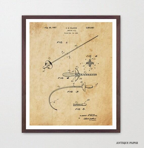 Fencing - Fencing Art - Fencing Patent - Sabre - Sabre Art - Sabre Patent - Saber Poster - Saber Art - Fencing Wall Art - Sword - Sword Art