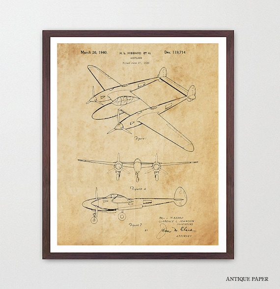 Airplane Patent Art - Hibbard - Airplane Art - Aviation Patent - Aviation Poster - Airplane Poster - Plane - Aviation Wall Art - Pilot