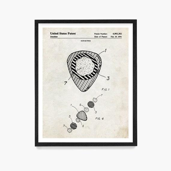 Guitar Pick Patent Poster, Guitar Patent Art, Fender Guitar Art, Music Poster, Guitar Gift, Music Gift, Guitar Teacher Gift