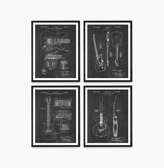 Guitar Patent Art, Les Paul Patent, Fender Guitar Art, Gretsch Guitar Print, Guitar Poster, Guitar Wall Art, Guitar Gift, Music Gift