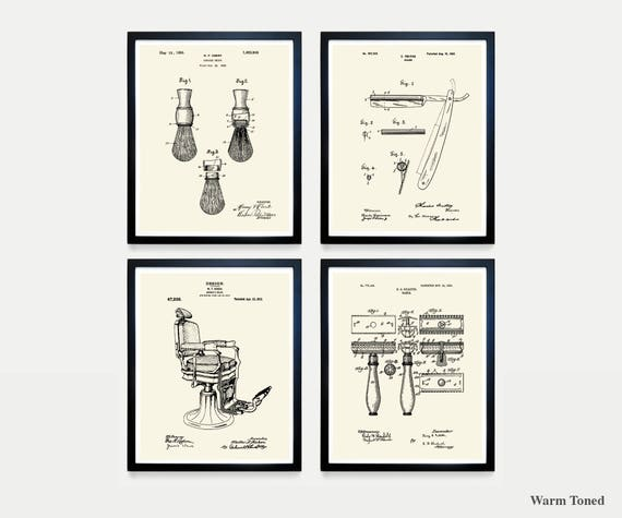 Shaving Patent Art - Straight Razor - Barber Chair - Razor - Razor Patent - Shaving art - Bathroom Art - Bathroom Patent - Mens Bathroom