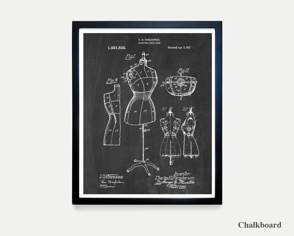 Sewing Patent Art Dress Form Sewing Art Fashion Patent Fashion Designer Clothing Designer Fashion Poster Sewing Poster Sewing Gift