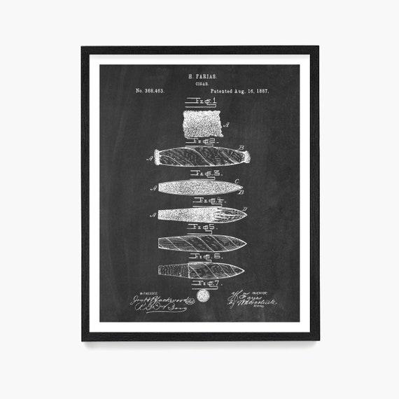 Cigar Patent Poster, Cigar Wall Art, Cigarillo, Office Decor, Mens Office, Smoking Decor, Pipe, Cigar Gift