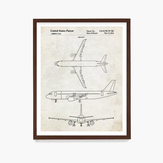 Airplane Patent Wall Art, Passenger Plane Poster, Airplane Gift, Airplane Decor, PIlot Gift, Airplane Patent Print, Airport Decor