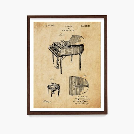 Piano Patent Poster, Piano Art, Piano Patent Print, Music Poster, Music Art Print, Music Poster, Baby Grand Piano, Music Gift